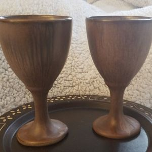 Other - Vintage Set Of Two  Glazed Clay Goblets